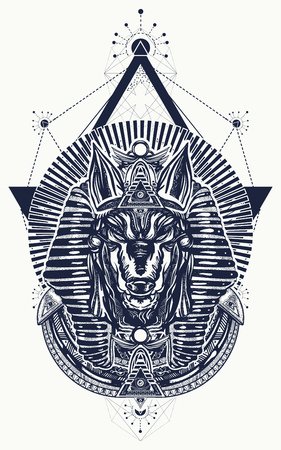 Anubis sacred geometry tattoo and t-shirt design. Anubis, god of war, Golden mask of the Pharaoh, symbol of next world, kingdom of dead tattoo art Imagens - 92828130