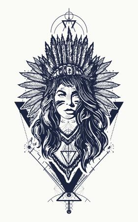 부족의 인도 여자 문신 및 t- 셔츠 디자인입니다. 아메리칸 인디언 벡터 민족 예술의 의상을 입고 젊은 여자. 아메리카 원주민 여자 문신 예술입니다.  일러스트