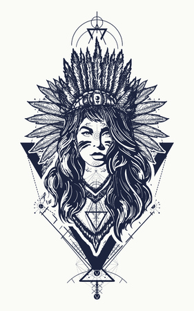 Tribal indian woman tattoo and t-shirt design. Young woman in costume of american indian vector ethnic art. Native American woman tattoo art. Ethnic girl warrior