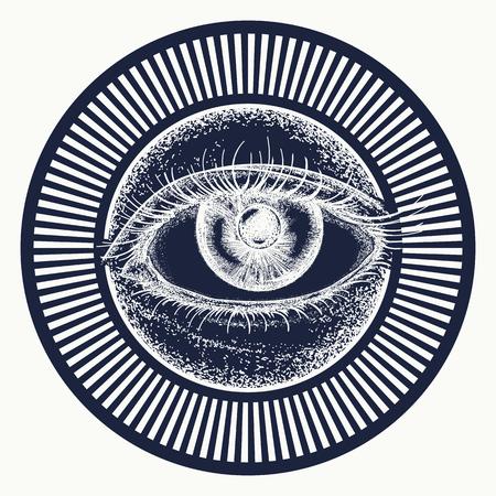 Alle wakend oog tattoo kunst vector. Alchemie, middeleeuwse religie, occultisme, spiritualiteit en esoterische tatoeage. T-shirtontwerp met magisch oog. Vrijmetselaar en spirituele symbolen Stock Illustratie