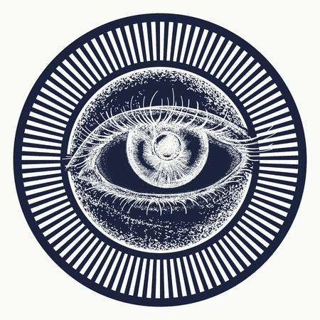 All seeing eye tattoo art vector. Alchemy, medieval religion, occultism, spirituality and esoteric tattoo. Magic eye t-shirt design. Freemason and spiritual symbols Vectores