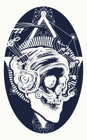 Schedel van de bebaarde hipster in oortelefoon luistert naar muziek. Schedel met baard, snor, hipster hoed en koptelefoon tattoo. Menselijke schedel heilige geometrie tattoo en t-shirt design Stock Illustratie