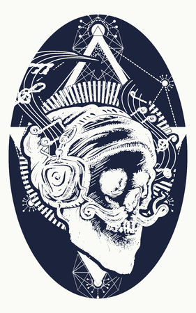 Skull of the bearded hipster in earphone listens to music. Skull with beard, mustache, hipster hat and headphones tattoo. Human skull sacred geometry tattoo and t-shirt design