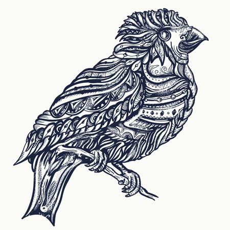 Magische vogels tattoo en t-shirt design. Leuke ornamentenvogel op een vector van de brunchkunst Stock Illustratie