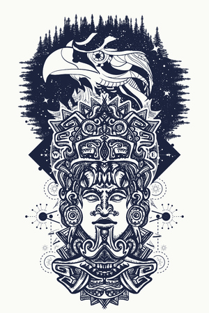 Ancient Aztec totem and eagle birds, Mexican god. Ancient Mayan civilization. Indian Mayan carved in stone tattoo art