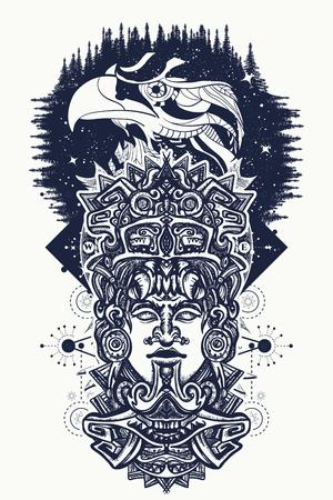 Oude Azteekse totem en adelaarsvogels, Mexicaanse god. Oude Maya-beschaving. Indische Maya gesneden in steen tattoo kunst