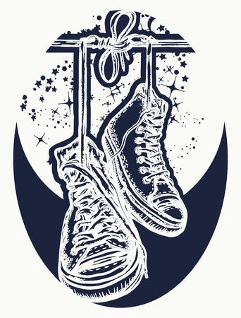 Magische sneakers opknoping van elektrische draad tatoeage en t-shirt design. Symbool van vrijheid, straatcultuur, graffiti, straatkunst. Sneakers op draden in de ruimte