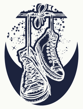 Magic sneakers hanging from electrical wire tattoo and t-shirt design. Symbol of freedom, street culture, graffiti, street art. Sneakers on wires in space