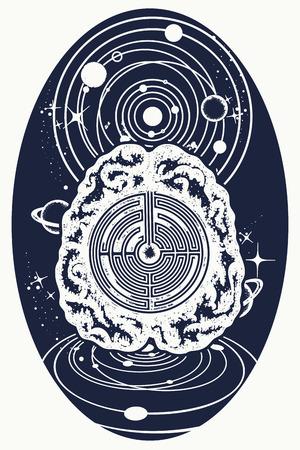 Super brein en universum tattoo-kunst. Kunstmatige intelligentie van de toekomstige tattoo. Symbool van psychologie, filosofie, creativiteit, intelligentie. Super brein lost problemen op met het ontwerpen van T-shirts Stock Illustratie