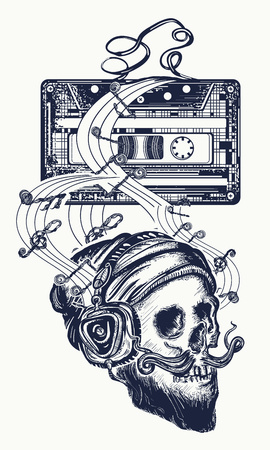 Human skull and old audio cassette tattoo. Skull of the bearded hipster in earphone listens to music. Symbol of pop music, disco t-shirt design Vectores