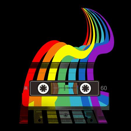 Audio cassette en regenboog. Retro muziek concept. Old school stijl. T-shirtontwerp met audiocassettes en kleuren. Poster 80s en 90s