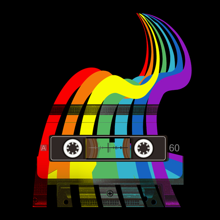 Audio cassette and rainbow. Retro music concept. Old school style. Audio cassette and color splashes t-shirt design. Poster 80s and 90s