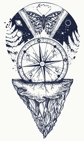 Universe and butterfly tattoo art. Symbol of Esoterics, mysticism, astrology, dream. Surreal Universe, compass, mountains, planet and star t-shirt design