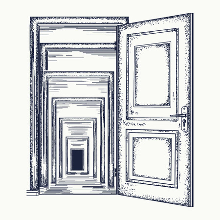 Door recursion. Psychological illustration. Symbol of infinite repetition, subconsciousness. Magic door recursion effect tattoo and t-shirt design Vettoriali