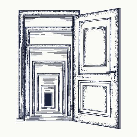 Door recursion. Psychological illustration. Symbol of infinite repetition, subconsciousness. Magic door recursion effect tattoo and t-shirt design Vettoriali