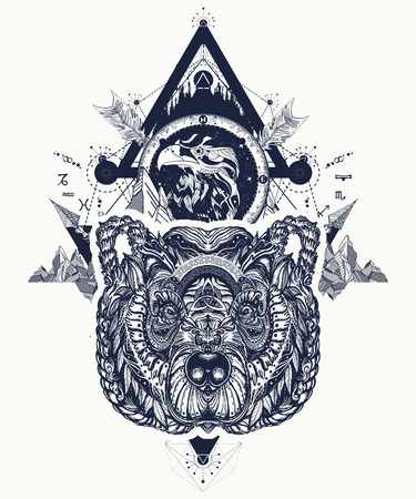 Eagle and bear tattoo art, mountains, crossed arrows, forest. Spirituality, boho, magic symbol. Astrological symbols, ethnic style, falcon and bear in rocks tattoo