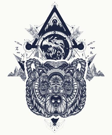 Eagle and bear tattoo art, mountains, crossed arrows, forest. Spirituality, boho, magic symbol. Astrological symbols, ethnic style, falcon and bear in rocks tattoo Banco de Imagens - 92828381