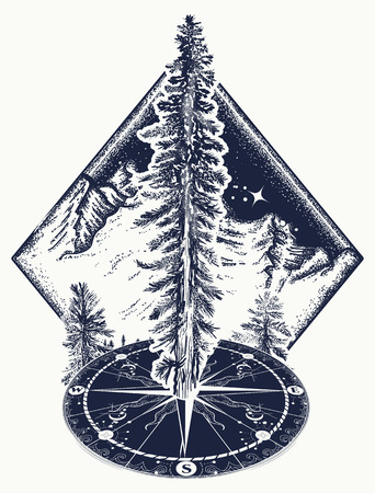 Pine tree and compass tattoo. Symbol of tourism, forest, rock climbing, camping. Fir tree, forest art t-shirt design