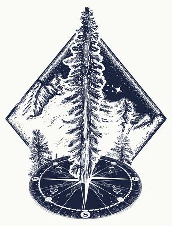 Pijnboom en kompas tattoo. Symbool van toerisme, bos, bergbeklimmen, kamperen. Dennenboom, bos kunst t-shirt design