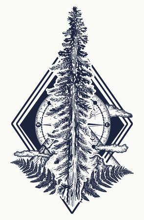 Pine tree and mountains, compass tattoo. Symbol of tourism, forest, rock climbing, camping. Fir tree and compass tattoo and t-shirt design Vettoriali