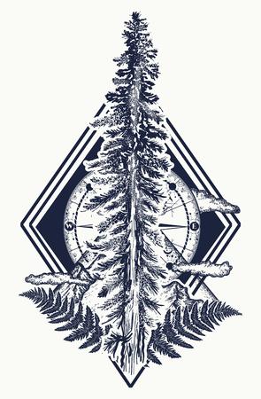 Pijnboom en bergen, kompas tattoo. Symbool van toerisme, bos, bergbeklimmen, kamperen. Dennenboom en kompas tattoo en t-shirt design