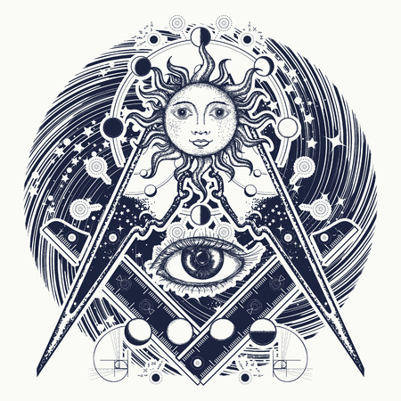 Magic eye t-shirt design. Mysteries of knowledge of mankind. Masonic symbol tattoo and t-shirt design. All seeing eye. Alchemy, medieval religion, occultism, spirituality and esoteric tattoo