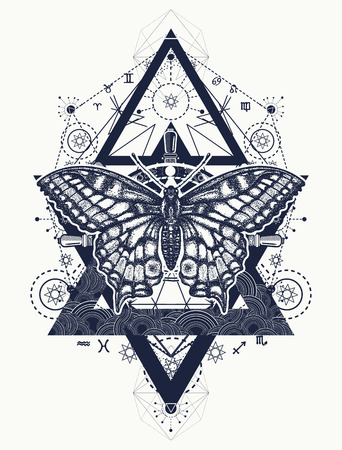 Beautiful Swallowtail boho t-shirt design. Butterfly tattoo, geometrical style. Mystical symbol of freedom, nature, tourism. Realistic butterfly art tattoo for women
