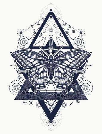 Mooi ontwerp van de Swallowtail boho t-shirt. Vlindertatoegering, geometrische stijl. Mystiek symbool van vrijheid, natuur, toerisme. Realistische vlinderkunsttatoegering voor vrouwen Stock Illustratie