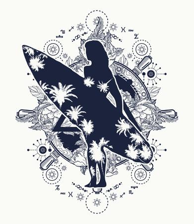 Mooi meisje met een surfplank. Symbool van extreme sport, rijden op zee golven, tropen, paradijs. Surfen tattoo en t-shirt design. Stuurwiel en grote zeegolf
