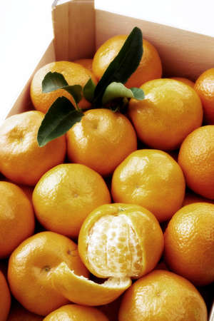 box with tangerines