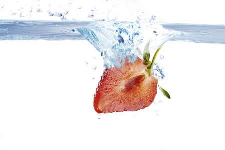 foodstill: strawberry splashing into water