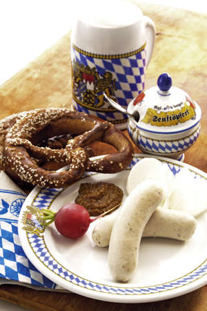 sweet mustard: Typical Bavarian Weisswurst, with beer