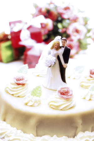 Wedding cake topper with bride and groom Stock Photo - 23584050