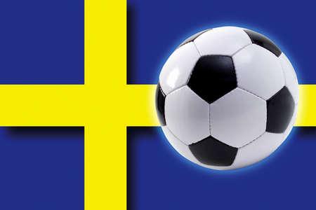 Soccer ball against Swedish flag Stock Photo - 23584073