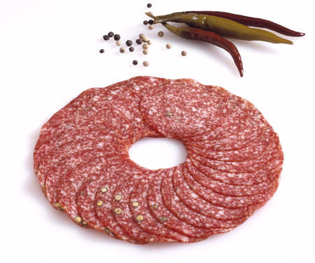 Sliced salami Stock Photo - 23584141
