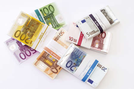 Bundle of euro banknotes, overhead view Stock Photo - 23674663