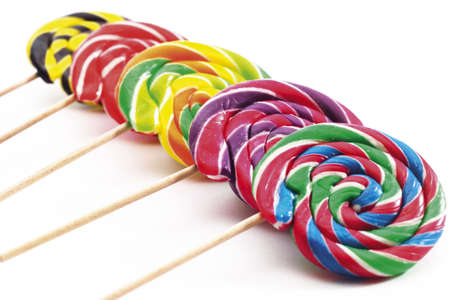 egoistic: Coloured lollipops,elevated view,close-up