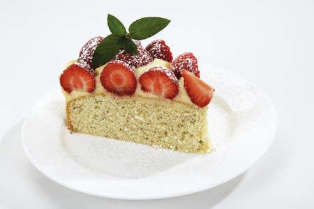 srawberry: Piece of srawberry cake on plate