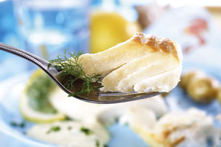 codfish: Codfish with dill on fork
