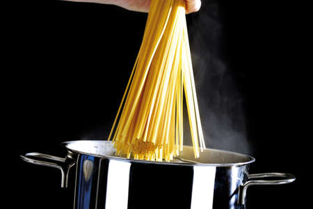 Spaghetti in cooking pot