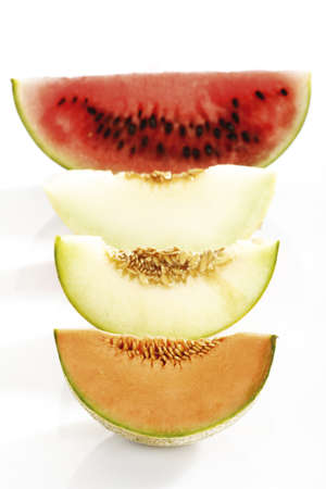 elevated view: Various sliced melons,elevated view
