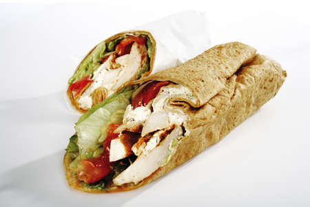 put away: Two wrap sandwiches with white meat and salad