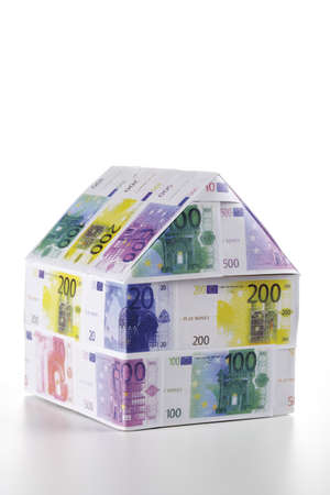 Single house of Euro notes Stock Photo - 23675026