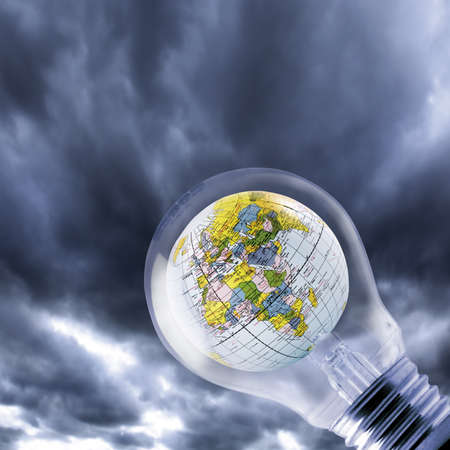 environmental conversation: Globe inside of lightbulb, close-up