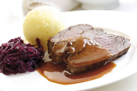 Roast beef with side dishes, close-up Stock Photo - 23675074