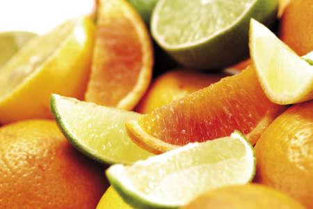 spitting: Various citrus fruits, close-up