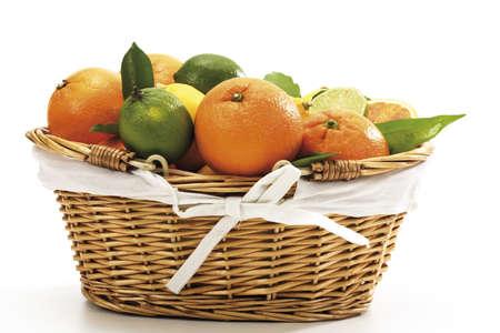 citrons: Various citrus fruits in basket