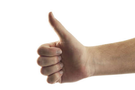 auspiciousness: Hand giving thumbs up, close-up