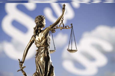 Justitia figurine in front of paragraphes, rear view, close-up LANG_EVOIMAGES