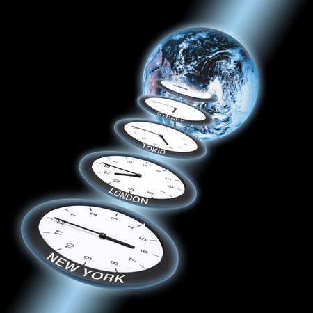 juxtaposing: Globe and clocks, symbol for Greenwich Mean Time LANG_EVOIMAGES